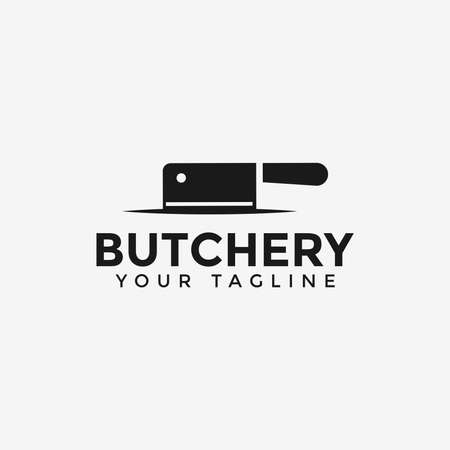 Butcher Shop, Cleaver Knife Logo Design Template