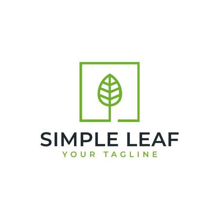 Simple Square Leaf, Eco, Garden, Botany, Nature Line Logo Design