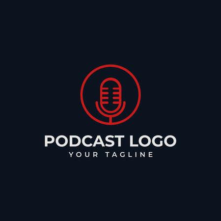 Simple Circle Microphone Podcast Radio Line Logo Design Template 向量圖像