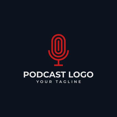 Simple Microphone Podcast Radio Line Logo Design Template 向量圖像
