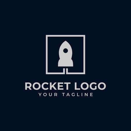 Simple Square Rocket Launch, Spaceship Logo Design Template