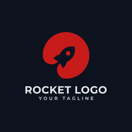 Circle Rocket Launch, Spaceship in Negative Space Logo Design