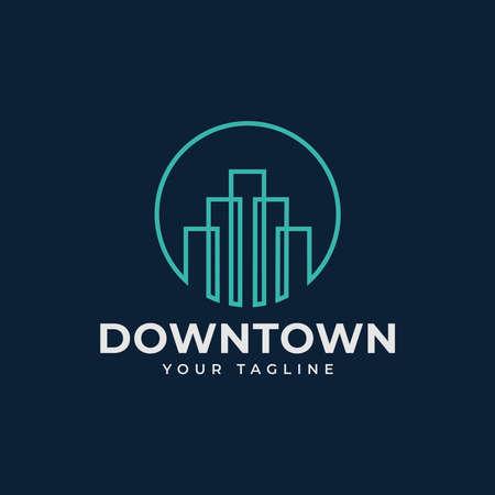 Circle Cityscape, Skyscraper, Skyline, Building, Town Logo Design