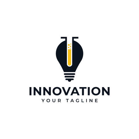 Light Bulb Lamp and Lab Science, Creative, Innovation Logo Design