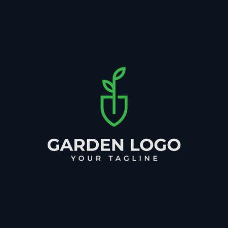 Shovel Leaf, Garden, Botany, Nature, Seed, Plant Line Logo Design 向量圖像
