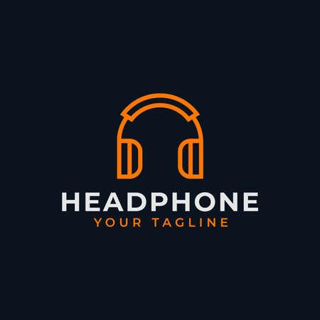Simple Headphone, Music Studio Recording, DJ Line Logo Design Çizim