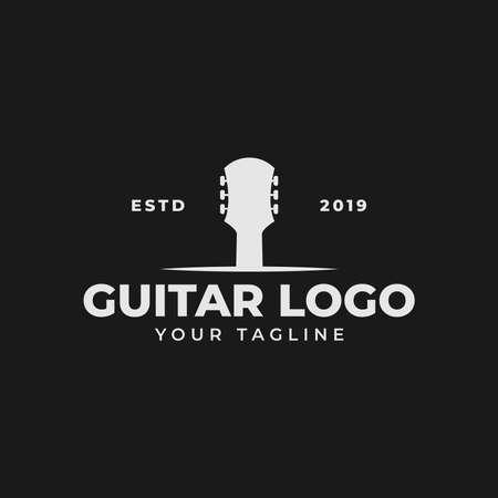 Vintage Retro Acoustic Guitar Shop, Music Concert Logo Design