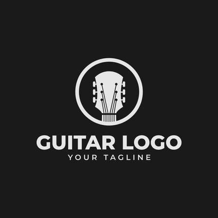 Circle Acoustic Guitar Shop, Music Concert Logo Design Template