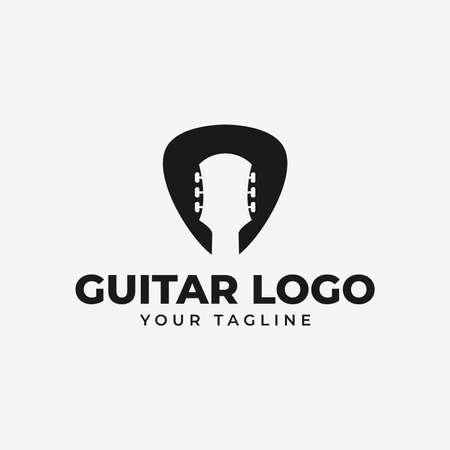 Simple Acoustic Guitar and Pick, Music Shop, Concert Logo Design