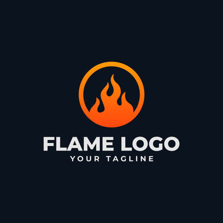 Abstract Circle Fire Flame, Burn Logo Design Template