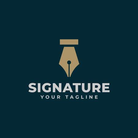 Vintage Classic Fountain Pen, Signature, Write Logo Design