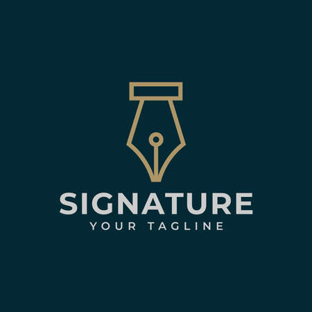 Vintage Classic Fountain Pen, Signature, Write Line Logo Design