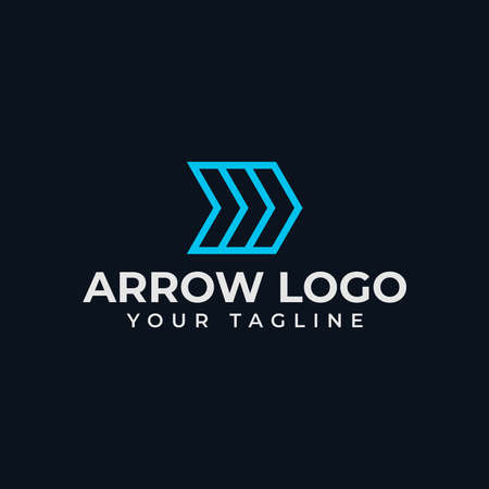 Simple Abstract Arrow, Business Line Logo Design Template