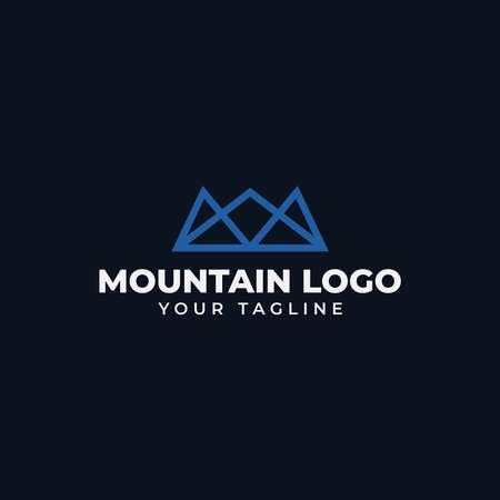 Simple Mountain Peak, Hill, Valley Line Logo Design Template 向量圖像