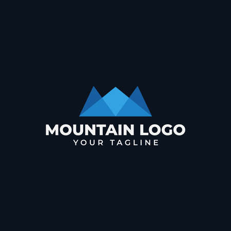 Simple Mountain Peak, Hill, Valley Logo Design Template