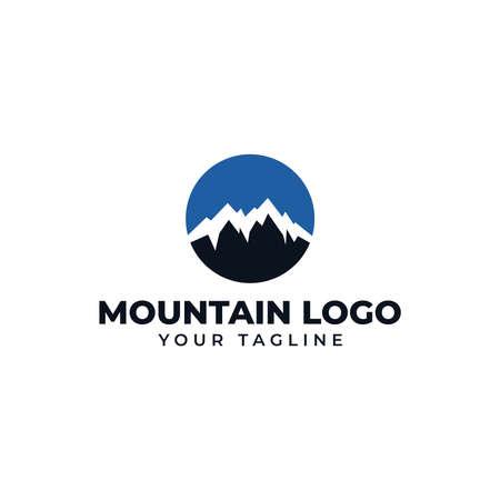 Circle Mountain Peak, Hill, Valley Logo Design Template