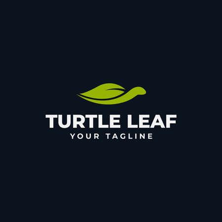 Simple Sea Turtle and Nature Leaf Eco Logo Design Template