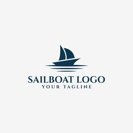 Sail Boat and Sea Wave, Sailing Yacht, Nautical Logo Design