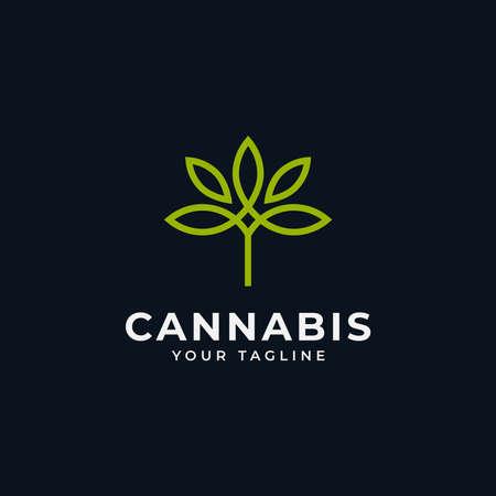 Simple Cannabis Marijuana CBD Hemp Leaf Line Logo Design Template Illustration