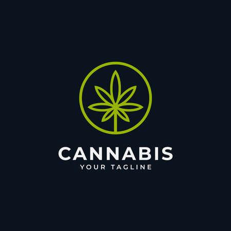 Circle Cannabis Marijuana CBD Hemp Leaf Line Logo Design Template