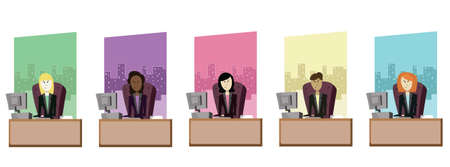 Various Female Business Women Vector