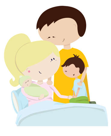kindred: A Family Welcoming a Their New Baby Illustration