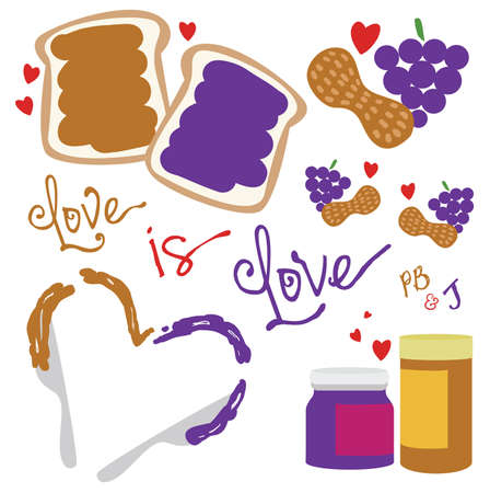 Peanut Butter and Jelly Love Pack Vector