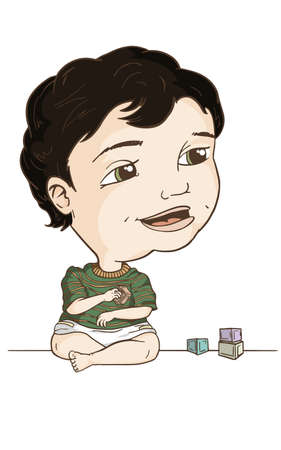 multi racial: Little Boy Playing with Blocks Illustration