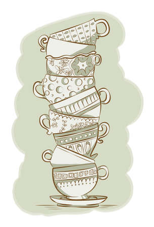 Stacked Teacups Illustration
