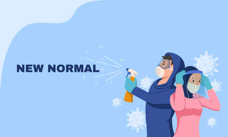Illustration of new normal concept. A man wearing protective google, mask, and glove with disinfectant spray and a woman wearing her face shield to avoid corona virus. Global pandemic. Flat vector.