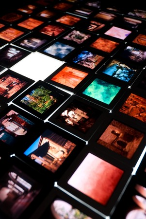 Colorful film slides on shooting table