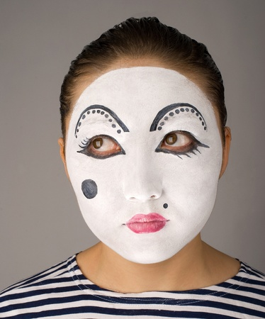 Series of mime portraits expressing different emotions photo
