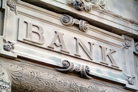forecasts: Bank signage Stock Photo