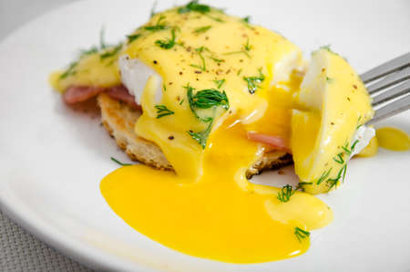 white eggs: Eggs Benedict for breakfast on a white plate, liquid yolk, close-up