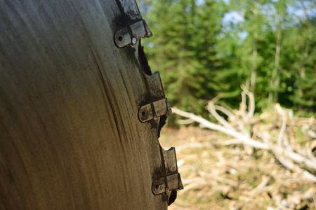 slasher: Closeup of Slasher Saw Teeth on Log Landing Stock Photo