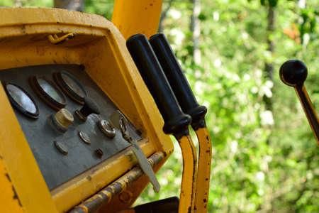 controls: Crawler Dozer Controls and Guages Stock Photo
