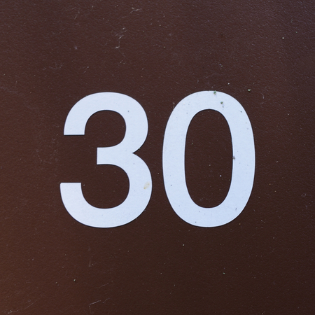 thirty: Brown and White Thirty Sign