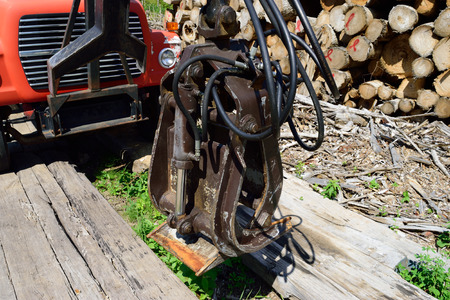 grapple: Log Loading Grapple on Old Truck Stock Photo