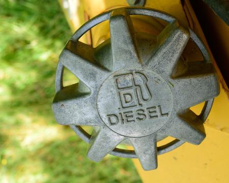 soot: Diesel Fuel Cap on Dozer Stock Photo
