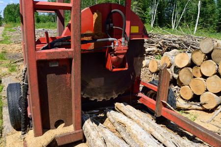 slasher: Log Slasher with Freshly Cut and Piled Wood