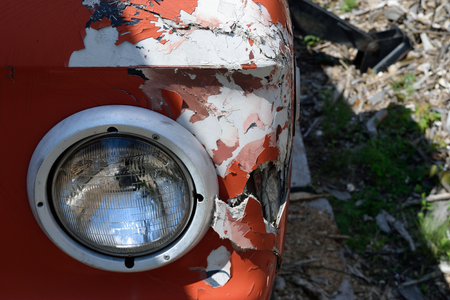 logging truck: Headlight and Damage on Old Logging Truck
