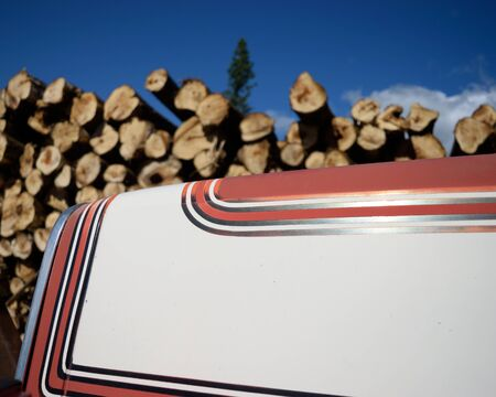 Red and White Log Truck