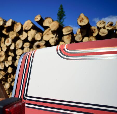 White and Red Log Truck