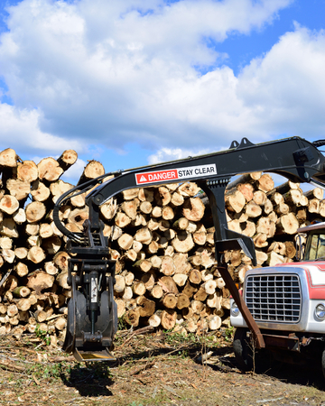 Log Loader Truck and Pulp Pile