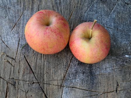 acer saccharum: Organic Apples on Splitting Block Stock Photo