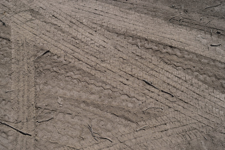 Tire Tracks on Dirt Stock Photo