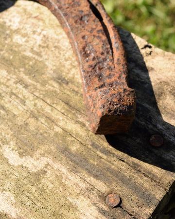 barnwood: Rusty Horseshoe and Weathered Barnwood