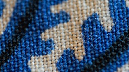kerchief: Blue Bandana Kerchief Closeup Macro