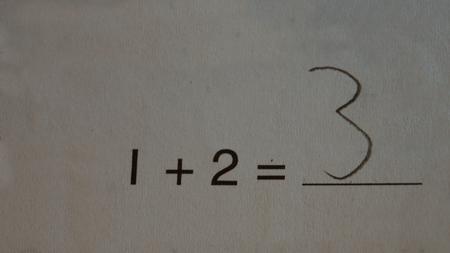 problem: Math Problem 1+2=3 Stock Photo