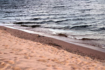 lake beach: Waves Approaching Lake Superior Beach Stock Photo